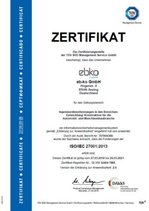 Zertifikat DIN ISO IEC 27001